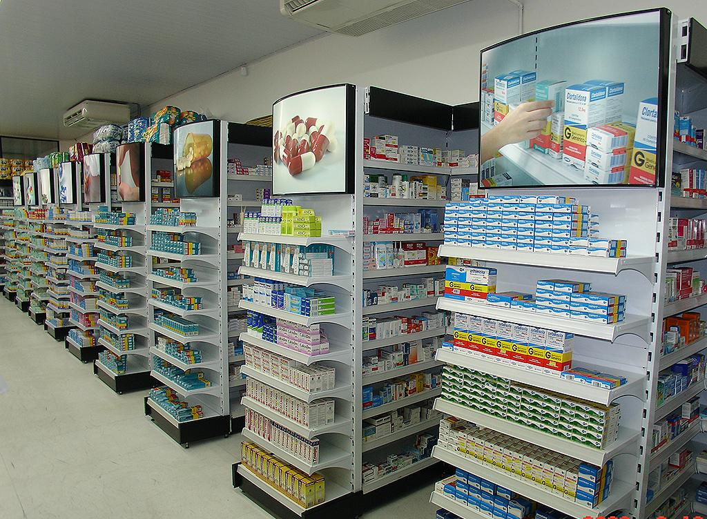 Gôndolas, Expositores, Balcões, Checkouts para farmácias, drogarias, perfumarias e cosméticos.